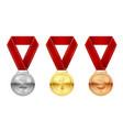 sport medals set reward honor symbol vector image