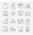 Storage line icons vector image vector image