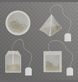 teabags with blank tag realistic collection vector image vector image