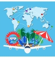 Travel background with word map vector image vector image