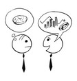 two businessman talking about charts and doughnut vector image vector image