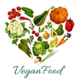 Vegan food poster with vegetables vector image vector image