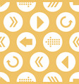 yellow white arrow circles seamless pattern vector image vector image