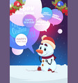 cute snowman greeting with merry christmas and vector image