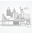 Linear of New York US Flat one line vector image