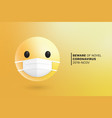 3d modern emoji with medical mouth surgical mask vector image
