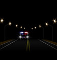 abstract light effects police car at night with vector image vector image