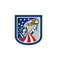 american patriot holding up torch flag shield vector image vector image