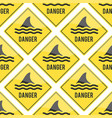 attention shark fin flipper sign icon vector image
