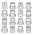 bag pack linear icons vector image