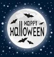 bat on background moon on halloween vector image