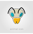 Bee flat icon Animal head symbol vector image