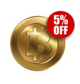 bitcoin sign with sale sign vector image