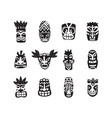 black and white tiki mask drawing icon set vector image
