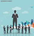Business people silhouettes with building vector image