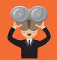 businessman with binoculars vector image vector image