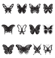 butterflies black silhouettes on white background vector image