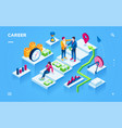 career development isometric view smartphone page vector image