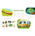 cartoon camping colorful composition vector image vector image