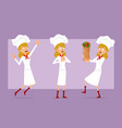 cartoon flat chef cook girl character set vector image vector image