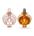 cartoon turkeys in pilgrim hat thanksgiving vector image