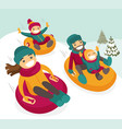 caucasian family sliding down the hill on tubes vector image vector image