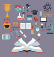 color background with open book and set school vector image