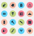 construction icons set with door hammer screw vector image