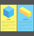 cube and cuboid posters set vector image vector image