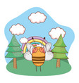 cute little bee with heart sunglasses in the camp vector image