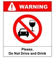 don t drink and drive sign vector image vector image