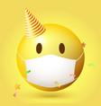 emoji emoticon with medical mask on face emoji vector image vector image