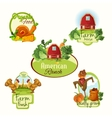 Farm fresh labels colored set vector image vector image