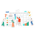 flat colleagues at planning meeting tasks vector image