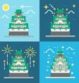 flat design osaka castle japan vector image vector image