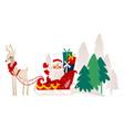 flat santa claus with reindeer sleigh vector image