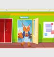 funny cartoon animal student a fox schoolgirl vector image vector image