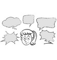 girl with different speech bubble templates vector image