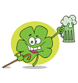 Green Clover Leaf Cheering With A Mug Of Beer vector image vector image