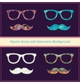 Hipster Icons with Geometric Grunge Background vector image vector image