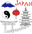 japan doodles elements hand drawn set vector image