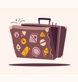 luggage for travel cartoon vector image