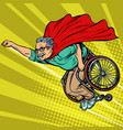 man retired superhero disabled in a wheelchair vector image