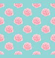 pink rose seamless on blue mint background vector image