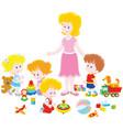 playing children and kindergarten teacher vector image