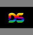rainbow color colored colorful alphabet letter ds vector image vector image