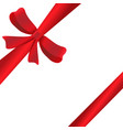 red ribbon with ribbon on white background vector image vector image