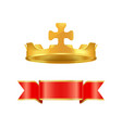 ribbon and crown with cross vector image