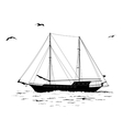 Sailboat in the sea and birds silhouettes vector image