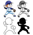 set baseball athletes vector image